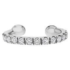 0.11 Carat Genuine Diamond Helix Cuff Earring in 14K White Gold, Shlomit Rogel