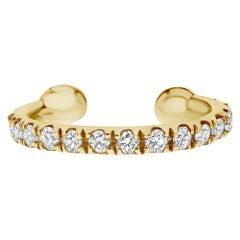 0.11 Carat Genuine Diamond Helix Cuff Earring in 14K Yellow Gold, Shlomit Rogel