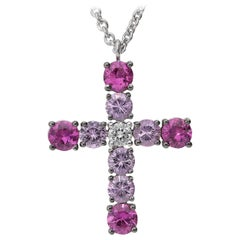 0.11 GVS Diamond 0.96 Pink Sapphire 0.95 Ruby 18 Karat White Gold Cross Necklace