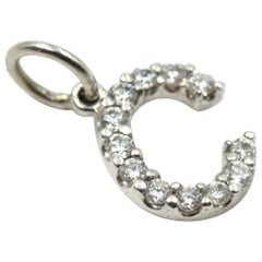 "0.12 Carat Diamond ""C"" Pendant 14 Karat White Gold"