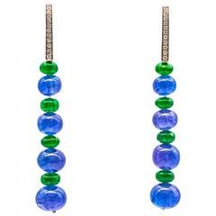 0.12 Carat Diamond Earrings with Tanzanite and Tsavorite Beads