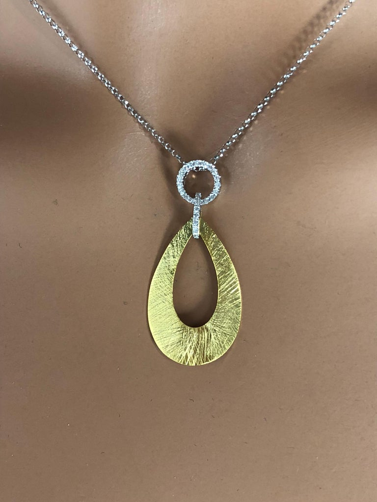 0.12 Carat Diamond Pendant in 14 Karat Yellow and White Gold by Diamond Town In New Condition For Sale In New York, NY