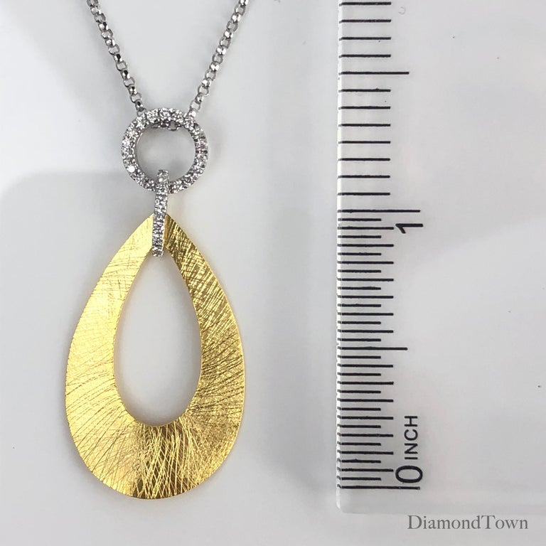 Women's 0.12 Carat Diamond Pendant in 14 Karat Yellow and White Gold by Diamond Town For Sale