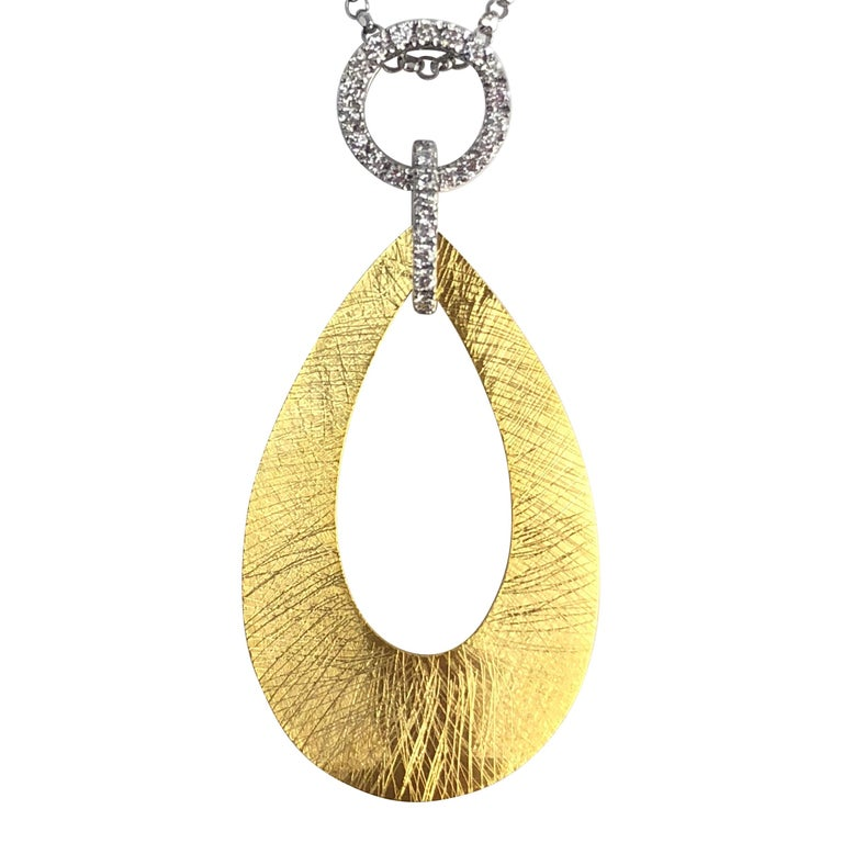0.12 Carat Diamond Pendant in 14 Karat Yellow and White Gold by Diamond Town For Sale