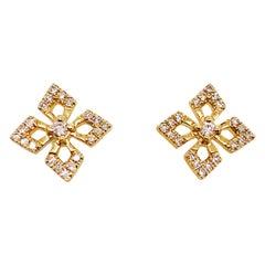 0.12 Carat Diamond Petal Clover Earring Studs in 14 Karat Yellow Gold