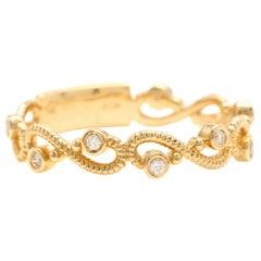 0.12 Carat Natural Diamond 14 Karat Solid Yellow Gold Band Ring