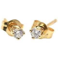 0.12 Carat Round Brilliant Cut Diamond Stud Earrings 14 Karat Yellow Gold