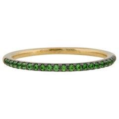 0.12 Carat Round Emerald Halfway Ring 18 Karat in Stock