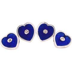 Berca 0.12Kt White Diamond Blue White Enameled Heart Shaped Gold Cufflinks