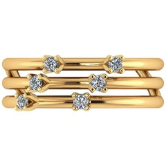 0.12 Carat White Diamonds Three Bands 18 Karat Yellow Gold Open Ring
