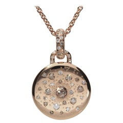 0.13 White GSI 0.59 Brown Diamonds 18 Karat Pink Gold Circle Pendant Necklace