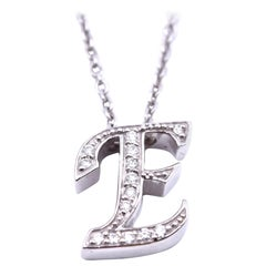 "0.14 Carat Diamond 14 Karat White Gold ""E"" Pendant Necklace"