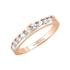 0.15 Carat Band Ring Round Diamond Channel Set Half Eternity 18 Karat Rose Gold