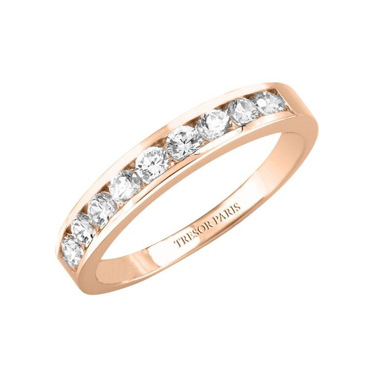 0.15 Carat Band Ring Round Diamond Channel Set Half Eternity 18 Karat Rose Gold