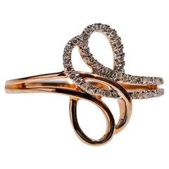 0.15 Carat Diamond 14 Karat Rose Gold Knot Ring Christmas Gift in Stock
