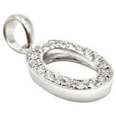 "0.15 Carat Diamond ""O"" Pendant 14 Karat White Gold"