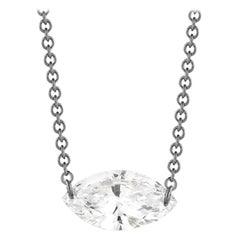 0.15 Carat Marquise Diamond Necklace in 14 Karat White Gold