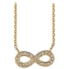 0.15 Carat Natural Diamond Infinity Necklace 14 Karat Yellow Gold G SI