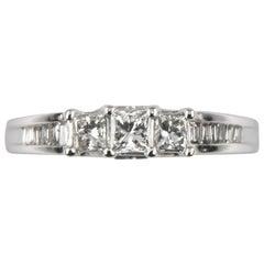 0.15 Carat Princess Cut Diamond Cathedral Engagement Ring