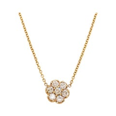 0.15 Carat Round Brilliant Diamond Cluster Flower Necklace, 14 Karat Yellow Gold