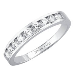 0.15 Carat Round Diamond Channel Set Half Eternity Band ring 18 Karat White Gold