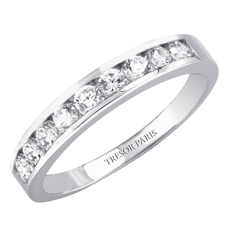 0.15 Carat Round Diamond Channel Set Half Eternity Band ring 18 Karat White Gold