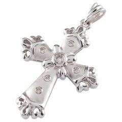 0.15 Carat Round Diamond Cross Pendant in White Gold