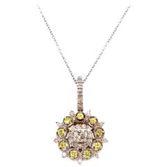 0.15 Carat Yellow Sapphire and Diamond Pendant