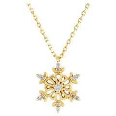0.15 Carats Diamond & Yellow Gold Snowflake Pendant Chain Necklace