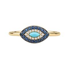 0.15ctw Sapphire, 0.04ctw Diamond and Turquoise Evil Eye Ring