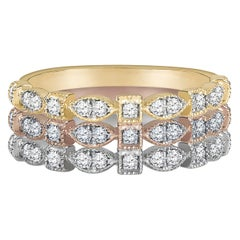0.16 Carat 14 Karat Gold Diamond Stackable Ring in White, Yellow and Rose Gold