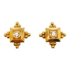 0.16 Carat Diamond 14 Karat Yellow Gold Custom Estate Earring Studs