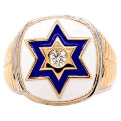 Men Star of David Enamel Ring Bezel Set Round White Diamond 14K Yellow Gold