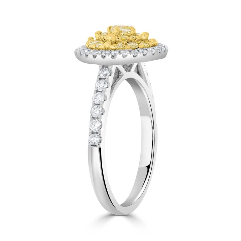 Modern 0.16tct Yellow Diamond Ring with 0.73ct Diamonds Set in 14K Two Tone Gold For Sale