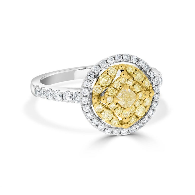 Cushion Cut 0.16tct Yellow Diamond Ring with 0.73ct Diamonds Set in 14K Two Tone Gold For Sale
