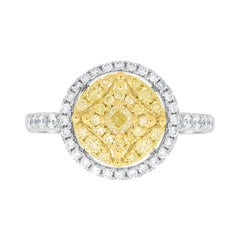 0.16tct Yellow Diamond Ring with 0.73ct Diamonds Set in 14K Two Tone Gold