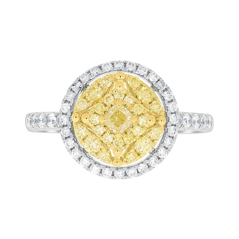 0.16tct Yellow Diamond Ring with 0.73ct Diamonds Set in 14K Two Tone Gold For Sale