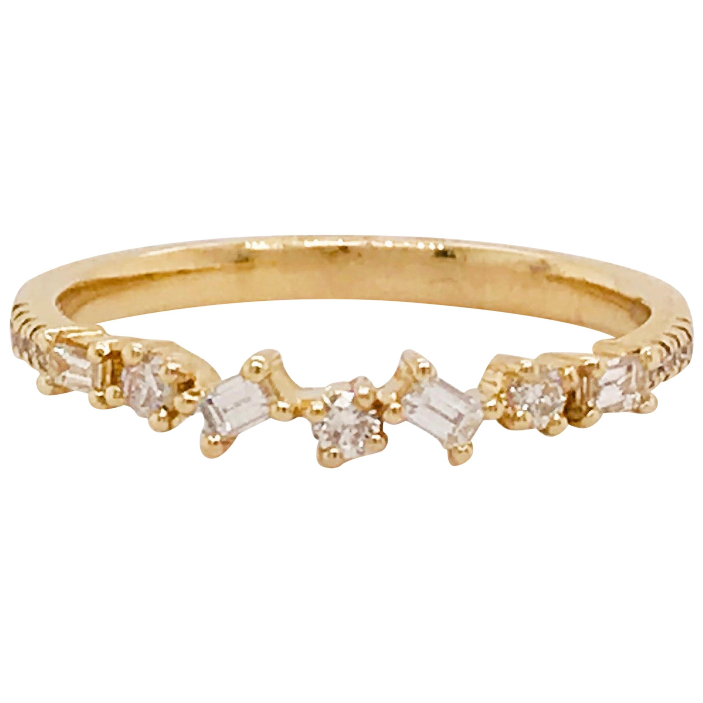 0.17 Carat Diamond Baguette and Round Ring, Stackable Diamond Band in 14k Gold