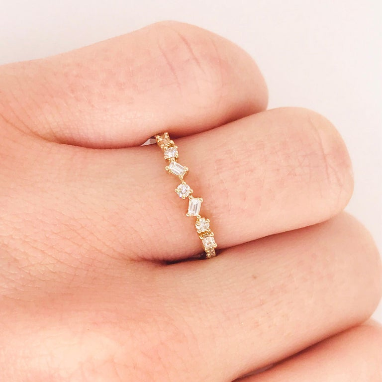 Artisan 0.17 Carat Diamond Baguette and Round Ring, Stackable Diamond Band in 14k Gold For Sale