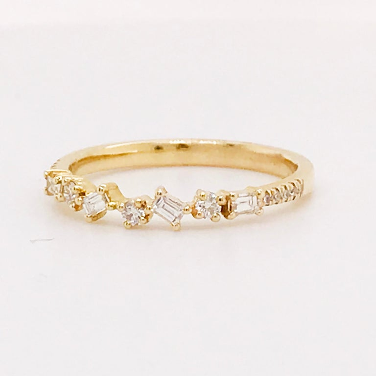 Baguette Cut 0.17 Carat Diamond Baguette and Round Ring, Stackable Diamond Band in 14k Gold For Sale