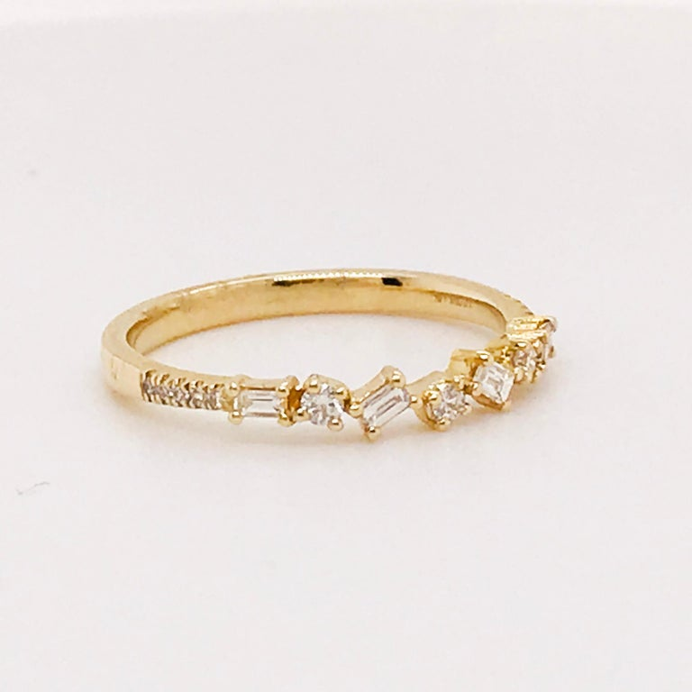 0.17 Carat Diamond Baguette and Round Ring, Stackable Diamond Band in 14k Gold In New Condition For Sale In Austin, TX