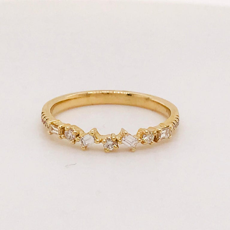 Women's 0.17 Carat Diamond Baguette and Round Ring, Stackable Diamond Band in 14k Gold For Sale