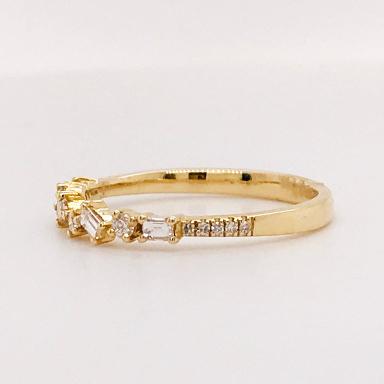 0.17 Carat Diamond Baguette and Round Ring, Stackable Diamond Band in 14k Gold For Sale 1