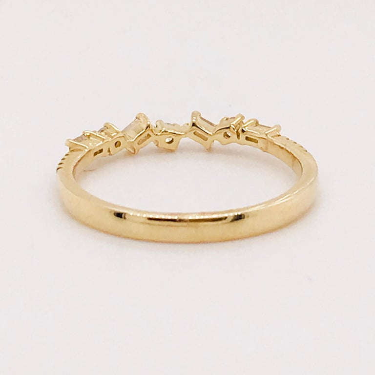 0.17 Carat Diamond Baguette and Round Ring, Stackable Diamond Band in 14k Gold For Sale 2