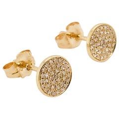0.17 Carat Diamond Pave Disk Earring Studs in 14 Karat Yellow Gold
