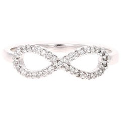 0.17 Carat Diamond White Gold Infinity Ring