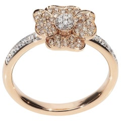 0.17 White GVS 0.30 Brown Diamonds 18 Karat Pink Gold Fashion Flower Ring