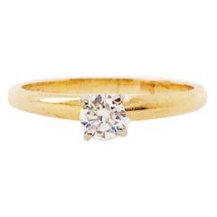 Diamond Solitaire Ring, 0.18 Carat '1/5 Carat' Round Brilliant, 14 Karat Gold