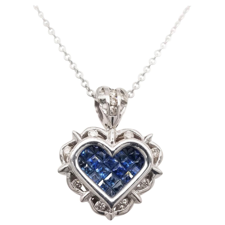 0.18 Carat Diamond/0.80 Carat Blue Sapphire 18K Gold Hearts Pendant Necklace