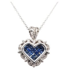 0.18 Carat Diamond/0.80 Carat Blue Sapphire 18K Gold Hearts Pendant Necklace